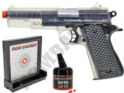 Red Jacket 1911 BB Gun Spring Airsoft Pistol Clear Black 2 Tone + Sticky Target & 400 Pellets